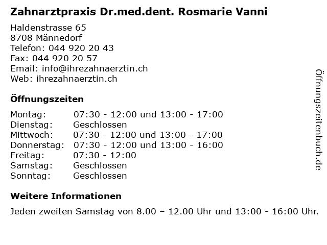 Zahnarztpraxis Dr.med.dent. Rosmarie Vanni in Männedorf: Adresse und Öffnungszeiten