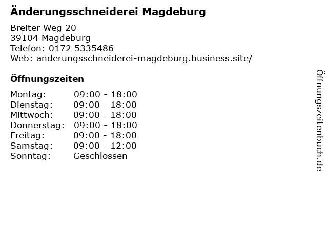 Änderungsschneiderei Magdeburg in Magdeburg: Adresse und Öffnungszeiten