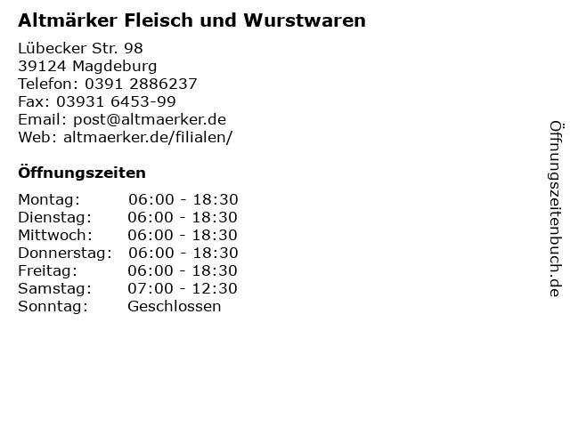 Altmärker Fleisch und Wurstwaren in Magdeburg: Adresse und Öffnungszeiten