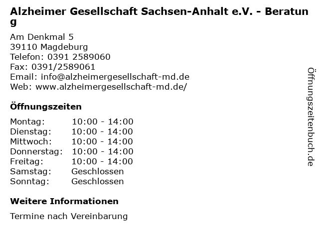 Alzheimer Gesellschaft Sachsen-Anhalt e.V. - Beratung in Magdeburg: Adresse und Öffnungszeiten