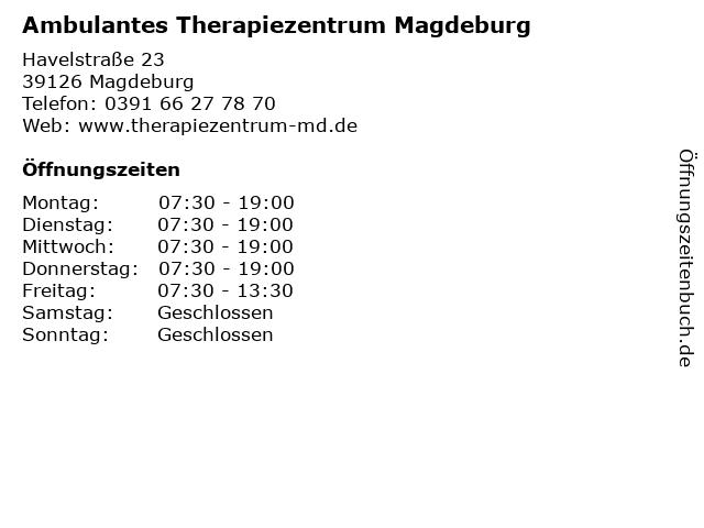 Ambulantes Therapiezentrum Magdeburg in Magdeburg: Adresse und Öffnungszeiten