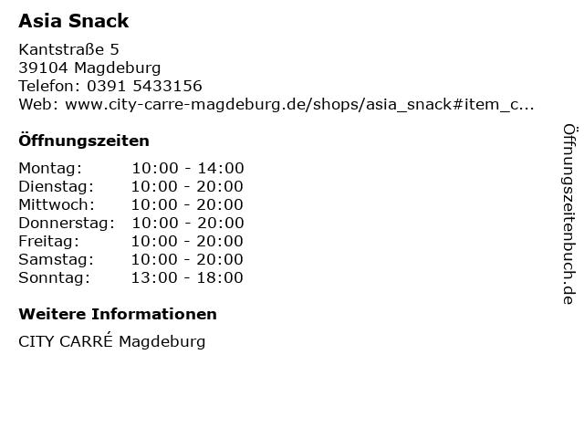 Asia Snack in Magdeburg: Adresse und Öffnungszeiten