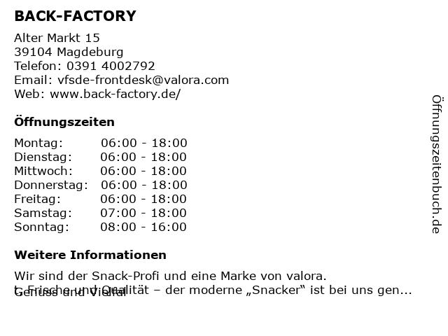 BACK-FACTORY in Magdeburg: Adresse und Öffnungszeiten