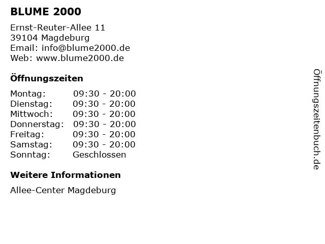 BLUME 2000 in Magdeburg: Adresse und Öffnungszeiten