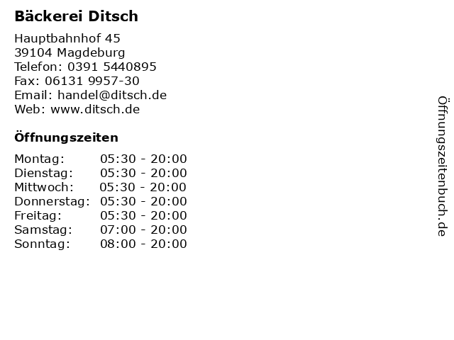 Bäckerei Ditsch in Magdeburg: Adresse und Öffnungszeiten