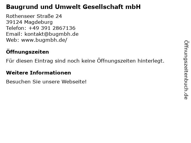 Baugrund und Umwelt Gesellschaft mbH in Magdeburg: Adresse und Öffnungszeiten