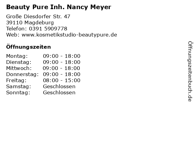 Beauty Pure Inh. Nancy Meyer in Magdeburg: Adresse und Öffnungszeiten