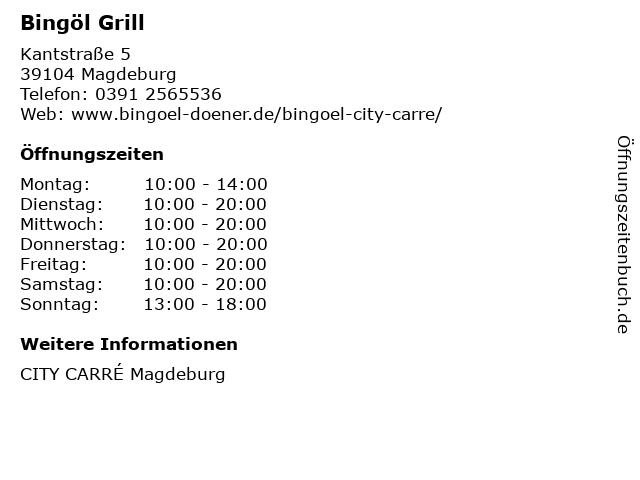 Bingöl Grill in Magdeburg: Adresse und Öffnungszeiten