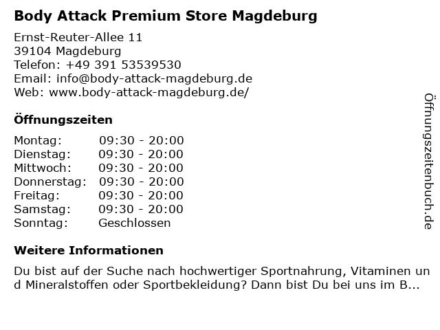 Body Attack Premium Store Magdeburg in Magdeburg: Adresse und Öffnungszeiten