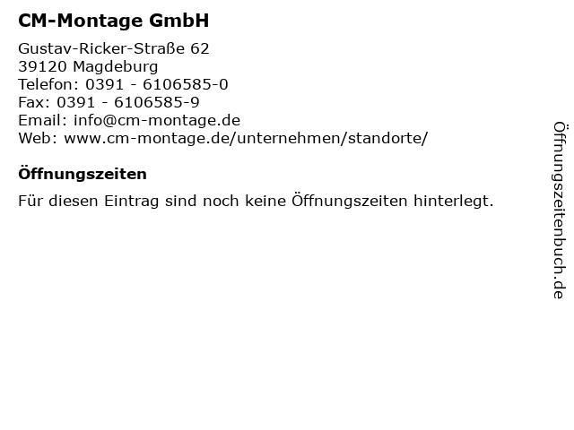 CM-Montage GmbH in Magdeburg: Adresse und Öffnungszeiten