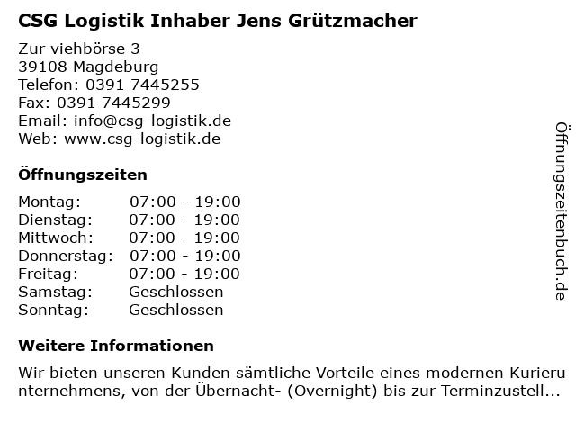 CSG Logistik Inhaber Jens Grützmacher in Magdeburg: Adresse und Öffnungszeiten