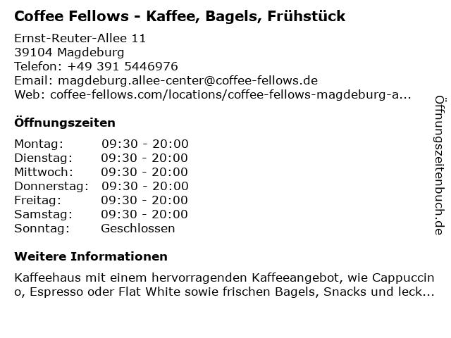 Coffee Fellows in Magdeburg: Adresse und Öffnungszeiten