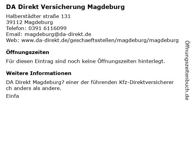 DA Direkt Versicherung Magdeburg in Magdeburg: Adresse und Öffnungszeiten