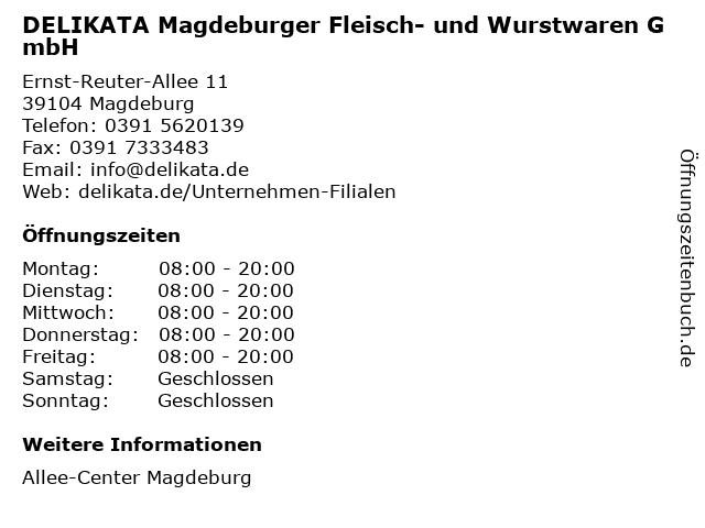DELIKATA Magdeburger Fleisch- und Wurstwaren GmbH in Magdeburg: Adresse und Öffnungszeiten