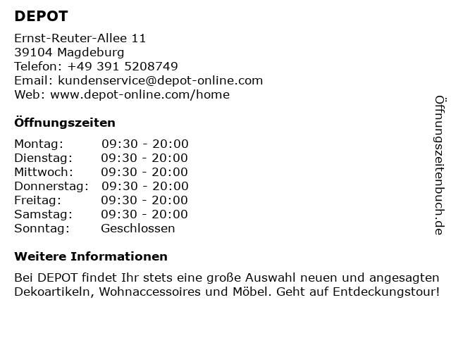 DEPOT in Magdeburg: Adresse und Öffnungszeiten