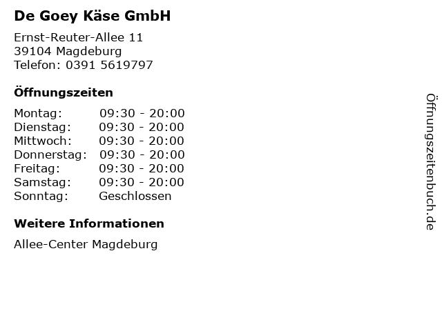 De Goey Käse GmbH in Magdeburg: Adresse und Öffnungszeiten