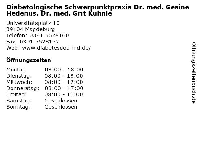 Diabetologische Schwerpunktpraxis Dr. med. Gesine Hedenus, Dr. med. Grit Kühnle in Magdeburg: Adresse und Öffnungszeiten