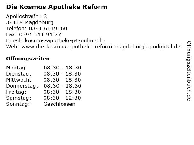 Die Kosmos Apotheke Reform in Magdeburg: Adresse und Öffnungszeiten