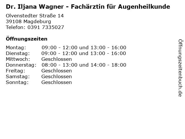 ᐅ öffnungszeiten Dr Iljana Wagner Fachärztin Für Augenheilkunde