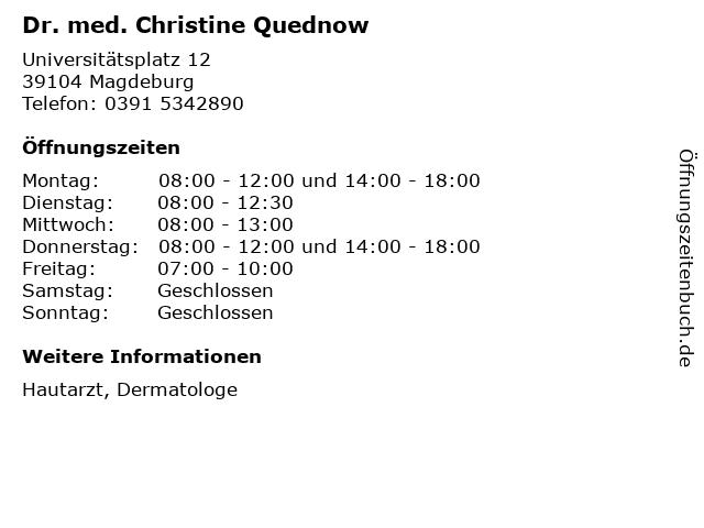 Dr. med. Christine Quednow in Magdeburg: Adresse und Öffnungszeiten