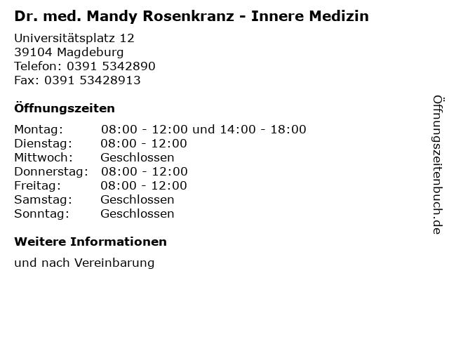 Dr. med. Mandy Rosenkranz - Innere Medizin in Magdeburg: Adresse und Öffnungszeiten