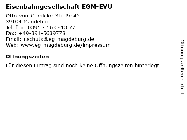 Eisenbahngesellschaft EGM-EVU in Magdeburg: Adresse und Öffnungszeiten