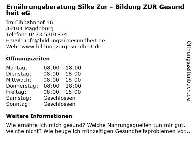 Bildung ZUR Gesundheit  Silke Zur in Magdeburg: Adresse und Öffnungszeiten