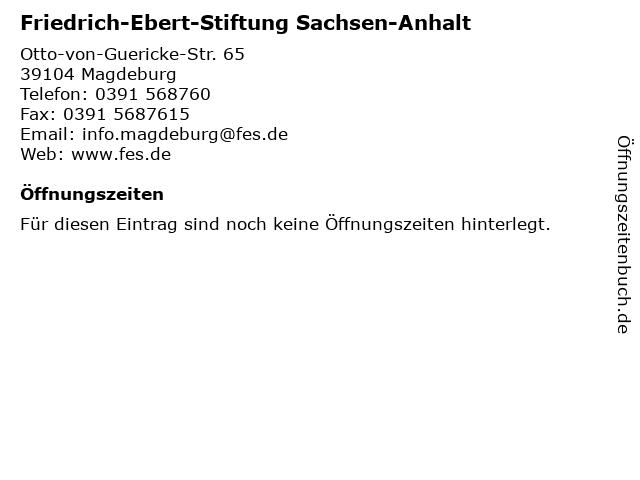 Friedrich-Ebert-Stiftung Sachsen-Anhalt in Magdeburg: Adresse und Öffnungszeiten