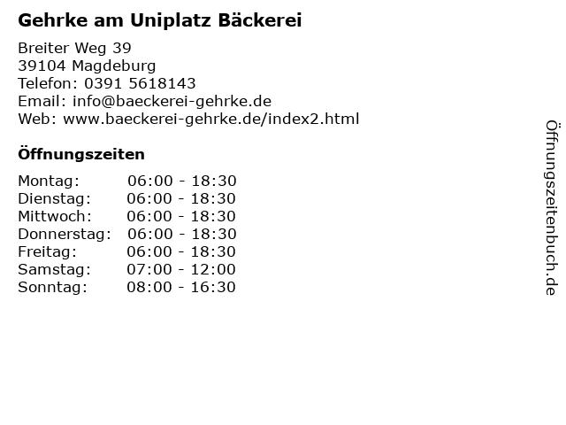 Gehrke am Uniplatz Bäckerei in Magdeburg: Adresse und Öffnungszeiten