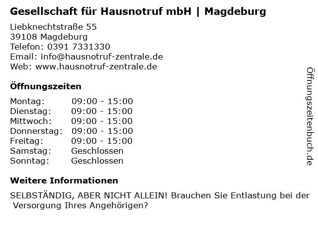 Gesellschaft für Hausnotruf mbH in Magdeburg: Adresse und Öffnungszeiten