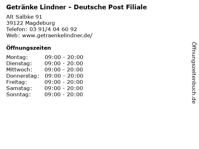 Getränke Lindner - Deutsche Post Filiale in Magdeburg: Adresse und Öffnungszeiten