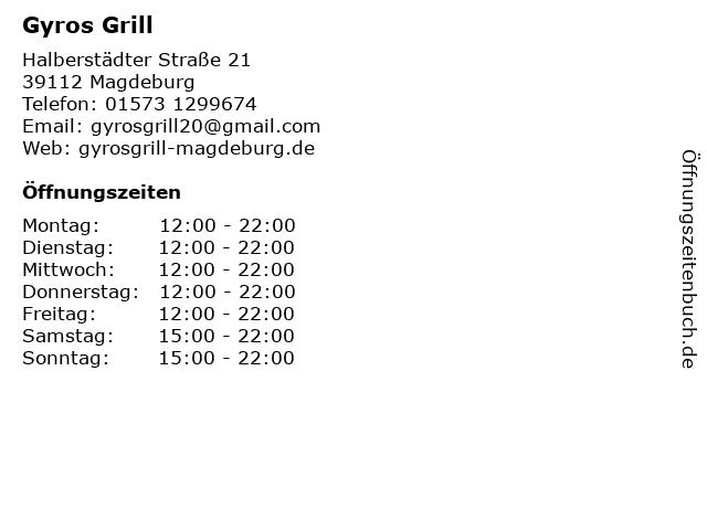 Gyros Grill in Magdeburg: Adresse und Öffnungszeiten