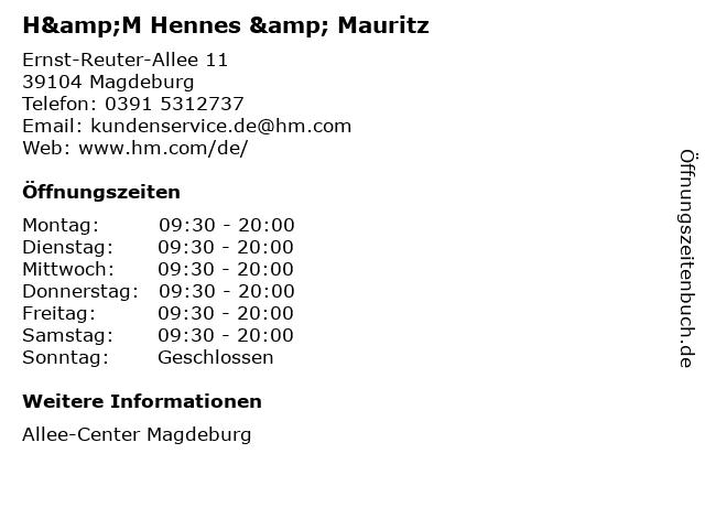 H&M Hennes & Mauritz in Magdeburg: Adresse und Öffnungszeiten