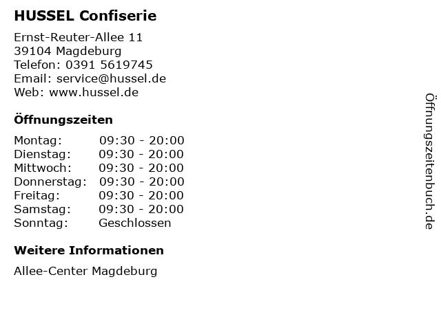 HUSSEL Süßwaren Fachgeschäfte GmbH in Magdeburg: Adresse und Öffnungszeiten