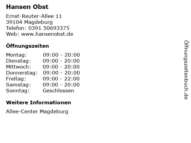 Hansen Obst in Magdeburg: Adresse und Öffnungszeiten