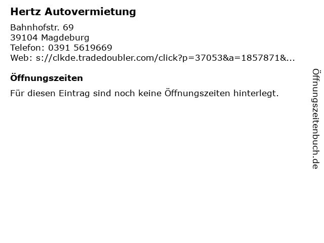 Hertz Autovermietung in Magdeburg: Adresse und Öffnungszeiten