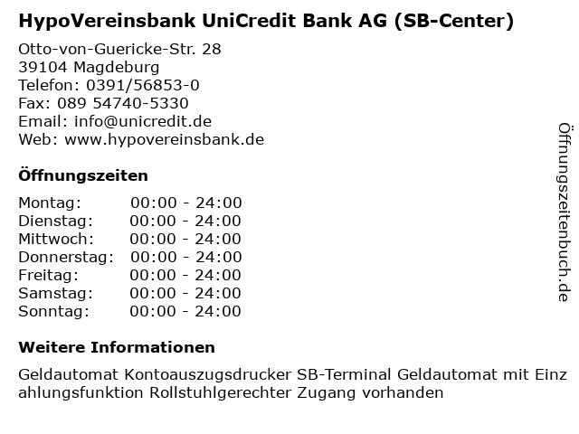 HypoVereinsbank UniCredit Bank AG (SB-Center) in Magdeburg: Adresse und Öffnungszeiten