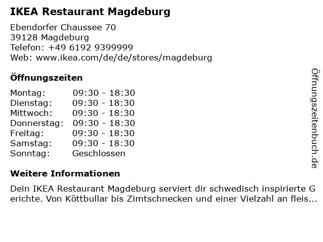 IKEA Deutschland GmbH & Co. KG Restaurant in Magdeburg: Adresse und Öffnungszeiten