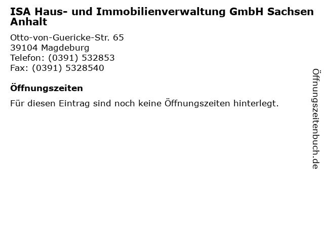 ISA Haus- und Immobilienverwaltung GmbH Sachsen Anhalt in Magdeburg: Adresse und Öffnungszeiten