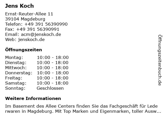 Jens Koch in Magdeburg: Adresse und Öffnungszeiten