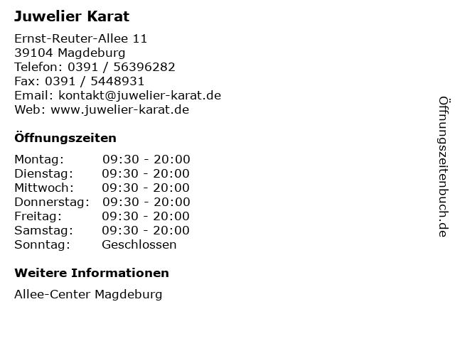 Juwelier Karat in Magdeburg: Adresse und Öffnungszeiten