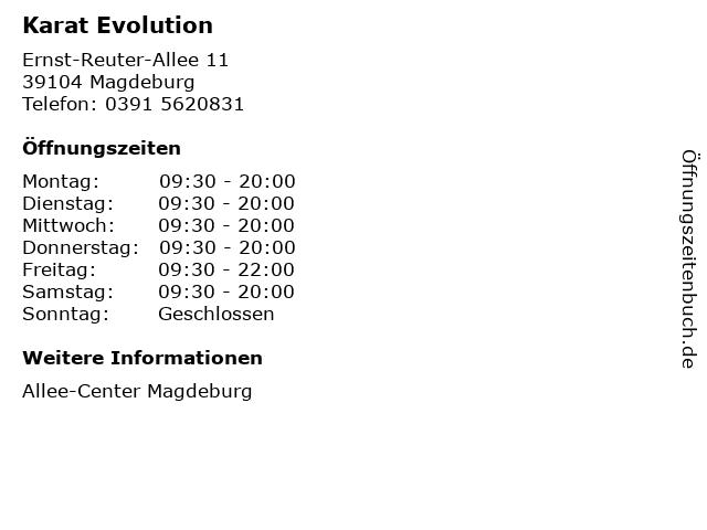 Karat Evolution in Magdeburg: Adresse und Öffnungszeiten
