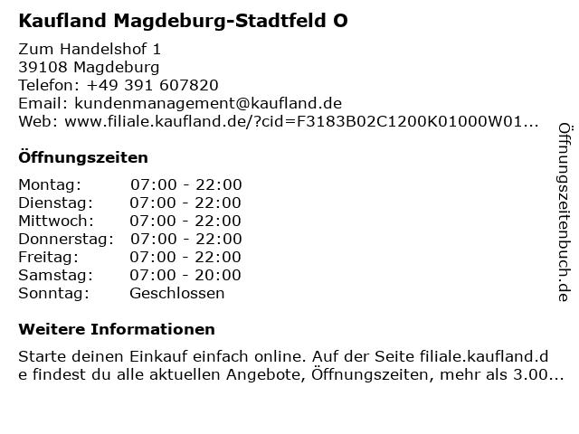 Kaufland Magdeburg-Stadtfeld Ost in Magdeburg: Adresse und Öffnungszeiten