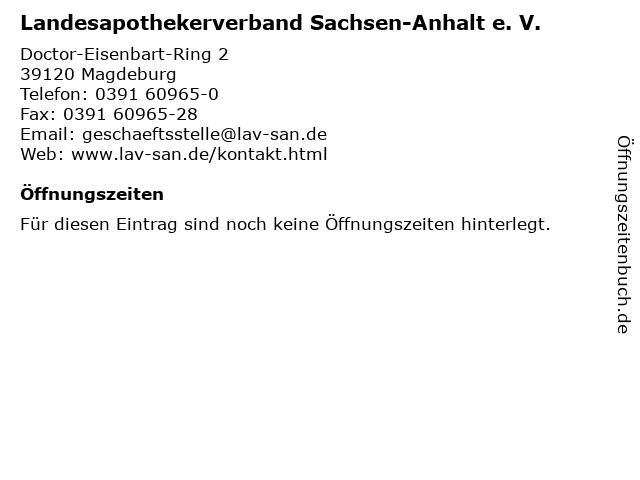 Landesapothekerverband Sachsen-Anhalt e. V. in Magdeburg: Adresse und Öffnungszeiten
