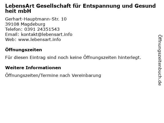 LebensArt Gesellschaft für Entspannung und Gesundheit mbH in Magdeburg: Adresse und Öffnungszeiten