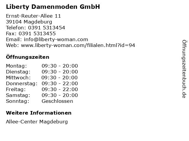 Liberty Damenmoden GmbH in Magdeburg: Adresse und Öffnungszeiten