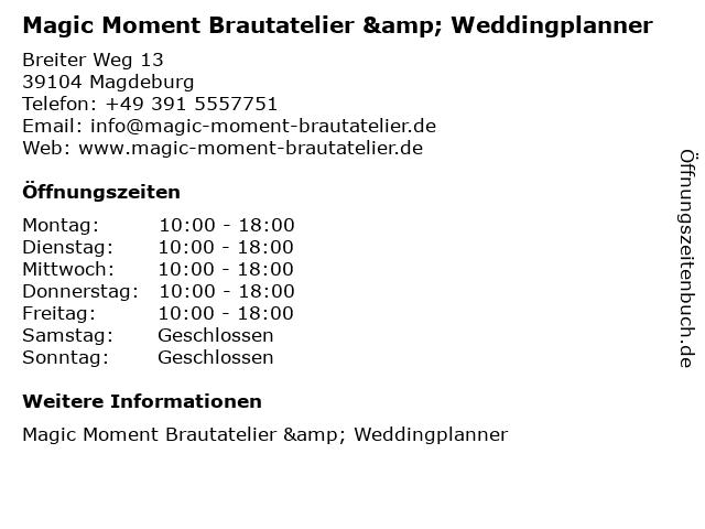 ᐅ Offnungszeiten Magic Moment Brautatelier Weddingplanner