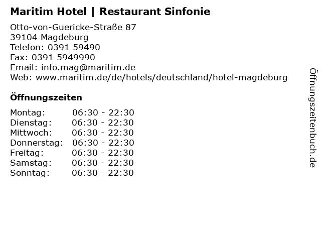 Maritim Hotel   Restaurant Sinfonie in Magdeburg: Adresse und Öffnungszeiten