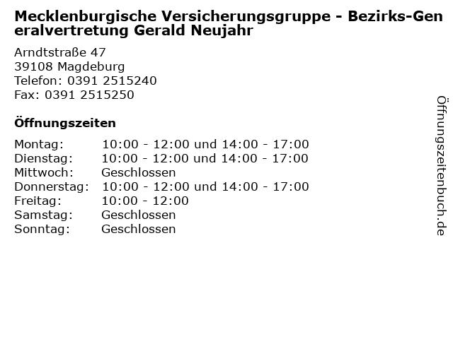 Mecklenburgische Versicherungsgruppe - Bezirks-Generalvertretung Gerald Neujahr in Magdeburg: Adresse und Öffnungszeiten