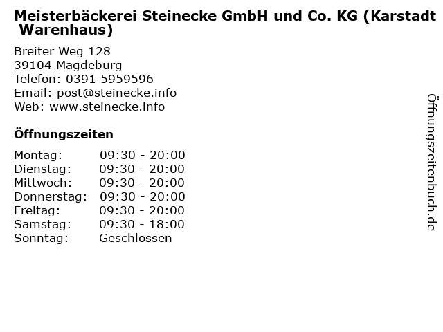 Meisterbäckerei Steinecke GmbH und Co. KG (Karstadt Warenhaus) in Magdeburg: Adresse und Öffnungszeiten